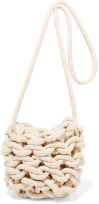 Alienina Ella Woven Cotton Shoulder Bag - White