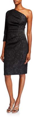 Rickie Freeman For Teri Jon Stretch Jacquard One-Shoulder Dress w/ Beaded Waist Applique