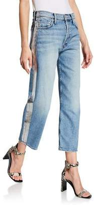Mother Thrasher Wide-Leg Jeans with Side Stripe