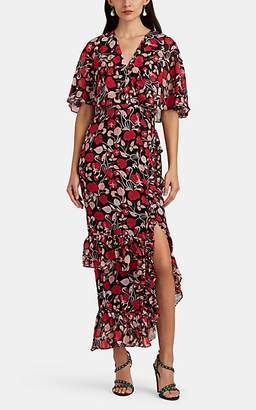Saloni Women's Rose Floral Silk Midi-Dress - Black