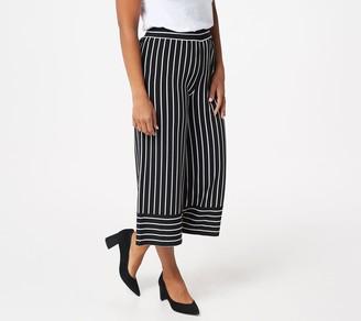 Denim & Co. Studio by Striped Jersey Cropped Wide Leg Pants
