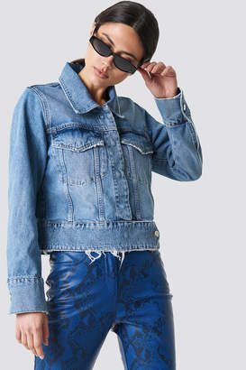 Na Kd Trend Cropped Big Pocket Denim Jacket Mid Blue