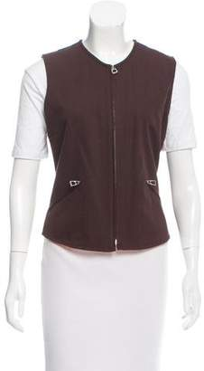 Hermes Herringbone Zip-Up Vest