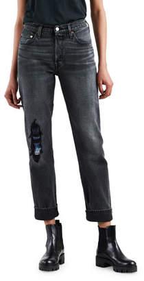 Levi's 501 High-Rise Straight-Leg Distressed Jeans