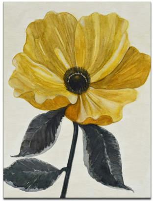 """Ready2hangart 'Elegant Poppy IV' Yellow Floral Canvas Wall Art, 30x20"""""""