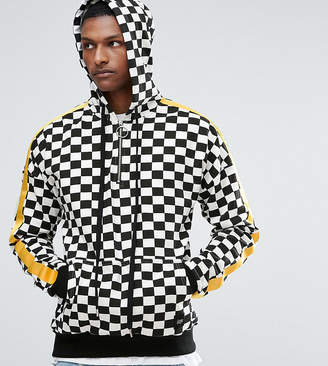 Asos Sixth June Hoodie In Checkerboard With Yellow Stripe exclusive to