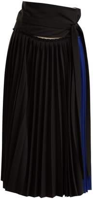 COLVILLE Tie-waist pleated wrap skirt