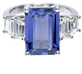 Vintage Platinum with Natural Emerald Cut Sapphire & Diamond Ring Size 6.5