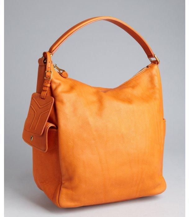 Yves Saint Laurent orange pebbled leather 'Multy' hobo