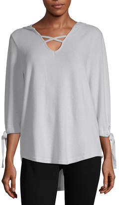 Liz Claiborne Womens Long Sleeve French Terry Hoodie