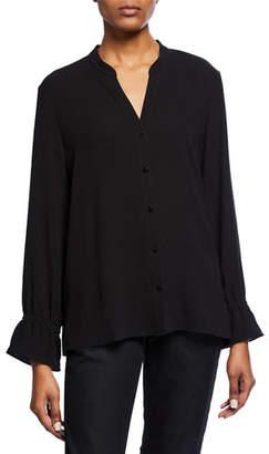 Eileen Fisher Mandarin Collar Flutter-Sleeve Silk Crepe Blouse, Plus Size