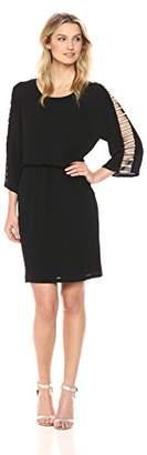 MSK Women's Ladder Sleeve Blouson Shift Dress with Silver Trim
