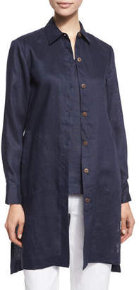 Go Silk Long-Sleeve Linen Duster Coat, Plus Size