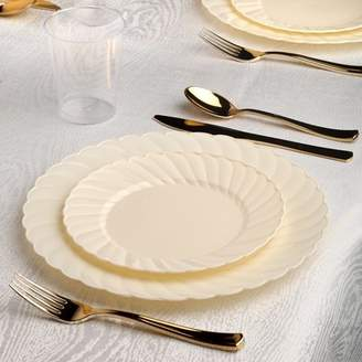 Kaya collection Kaya Collection - Bone Disposable Plastic Dinnerware Party Package - Includes Dinner Plates, Salad Dessert Plates, Gold Cutlery, Tumblers (144 Person Package)