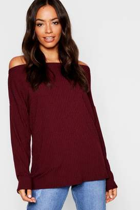 boohoo Off The Shoulder Oversized Rib Knit Jumper fde907dd2acc0