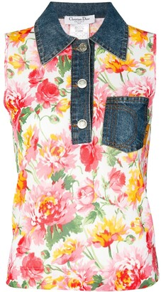 Christian Dior Pre-Owned denim collar floral vest
