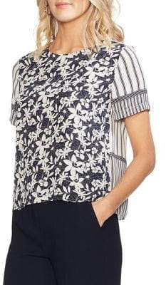 Vince Camuto Short Sleeve Mix Print Blouse