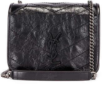 Saint Laurent Niki Wallet Chain Bag in Black   FWRD