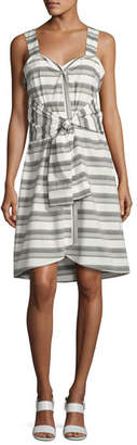 Derek Lam 10 Crosby Sleeveless Striped Tie-Front Poplin Dress, White