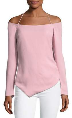 Cushnie Off-the-Shoulder Halter Stretch-Crepe Top with Drawstring Sides