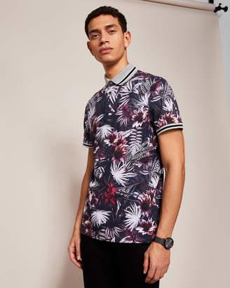 KENDLE Floral print cotton polo shirt