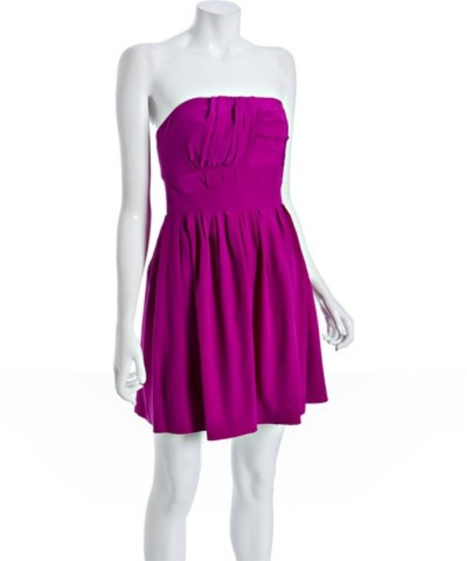 Sine fuschia silk pleated strapless dress