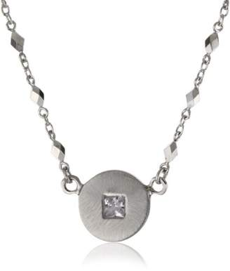 "Rotenier Disc and Square"" Sterling Disc with Sapphire Necklace"