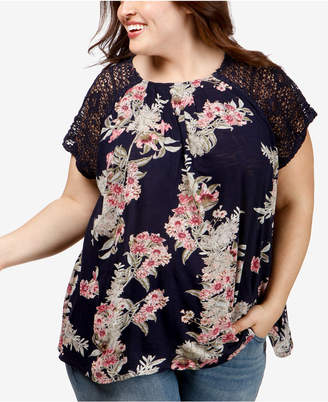 Lucky Brand Trendy Plus Size Lace-Trimmed Top