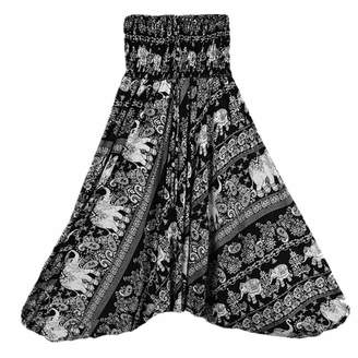Hengshitong Thai Stlye Plus Size Beach Harem Womens High Waist Floral Print Vintage Loose Trousers Yoga Pants