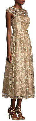 Theia Metallic Embroidered Midi Dress