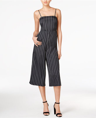 Armani Exchange Pinstriped Wide-Leg Jumpsuit $135 thestylecure.com