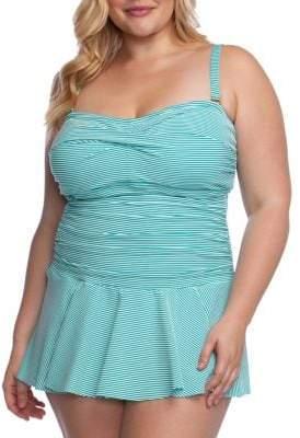 Lauren Ralph Lauren Plus Twist Shirred Skirted 1-Piece Swimsuit