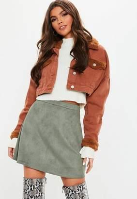 Missguided Khaki Suede A Line Mini Skirt, Khaki