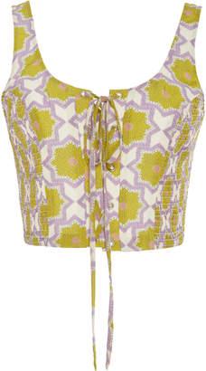 VERANDAH Lace-Up Printed Bralette Top