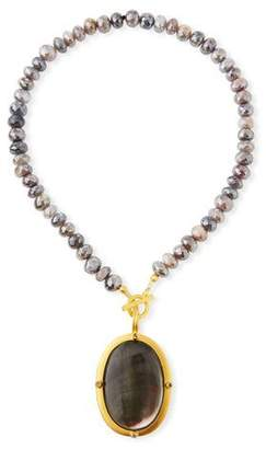 Mother of Pearl Dina Mackney Titanium Moonstone & Black Mother-of-Pearl Necklace