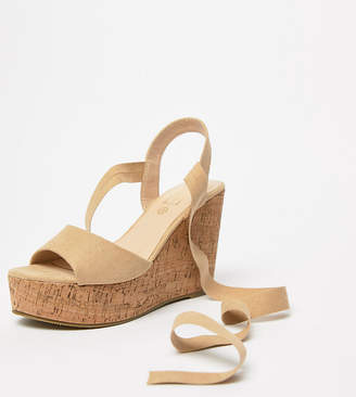 Truffle Collection Wide Fit Tie Leg Wedges