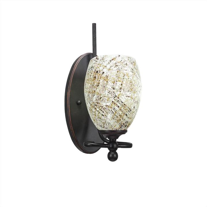 Cambridge Silversmiths Cambridge 1-Light Dark Granite Sconce with Natural Tiffany-Style Glass