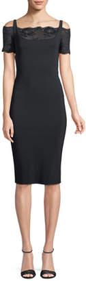 Chiara Boni Gladys Lace-Yoke Cold-Shoulder Dress
