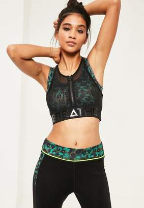 Missguided Active Green Double Layer Mesh Sports Bra