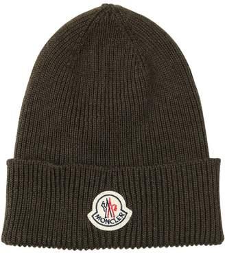 Moncler Logo Wool Rib Knit Beanie