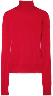 Helmut Lang Wool And Silk-blend Turtleneck Sweater - Red