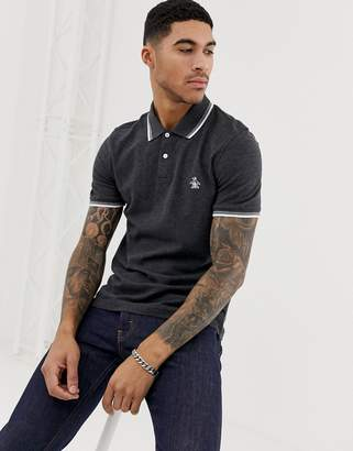 Original Penguin slim fit tipped pique polo in charcoal