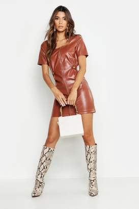 boohoo Zip Front Leather Look Mini Dress
