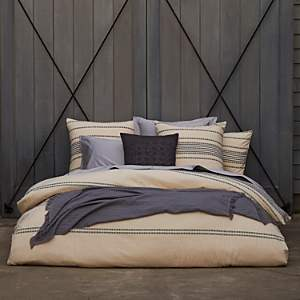 Organic Cotton Ivory Rippled Stripe Duvet Cover, King