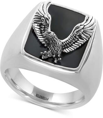 Effy Men's Onyx (16-3/4 x 13-1/2mm) Eagle Ring in Sterling Silver