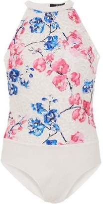 Dorothy Perkins Womens *Quiz Blue and Pink Crochet Bodysuit
