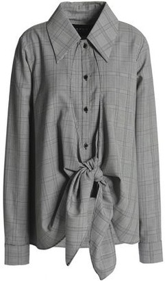 Paper London Draped Prince Of Wales Checked Wool-Blend Top