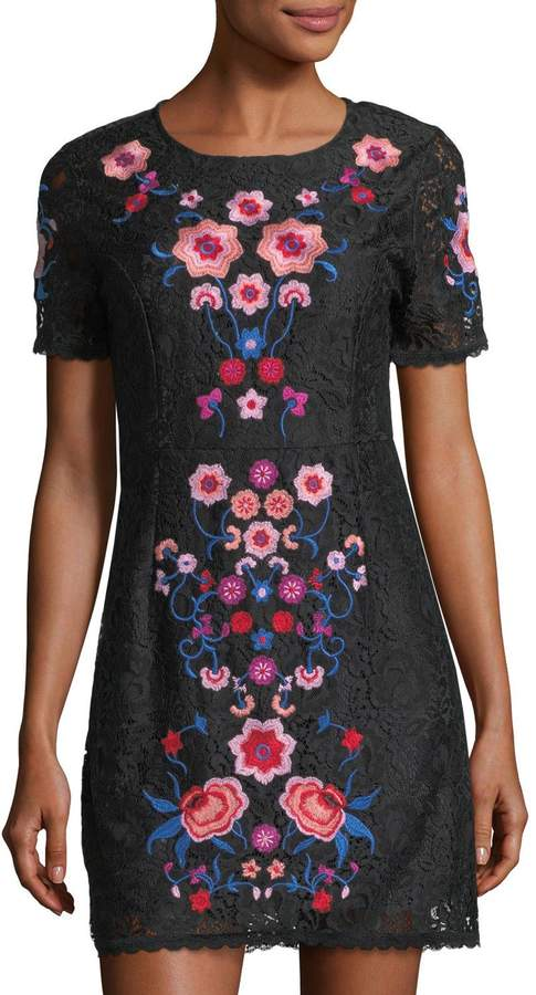 Free Generation Floral Embroidery Lace Mini Dress