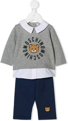 Moschino Kids logo print collared shirt tracksuit set