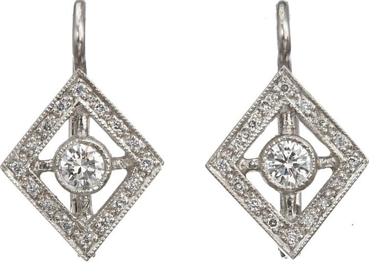 Cathy Waterman Frame Drop Earrings-Colorless